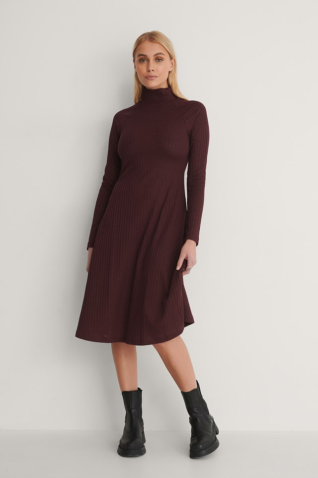 Burgundy Recycled High Neck Flowy Midi Dress