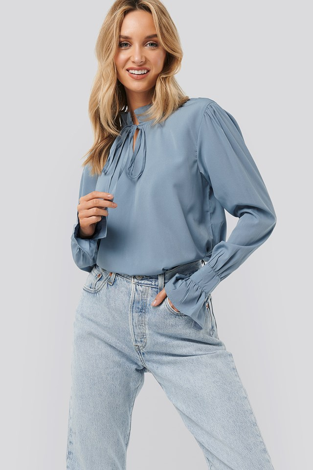High Neck Frill Blouse Dusty Blue
