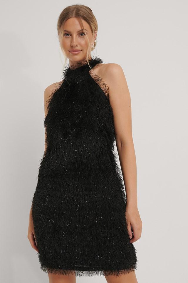 High Neck Fringe Mini Dress Black