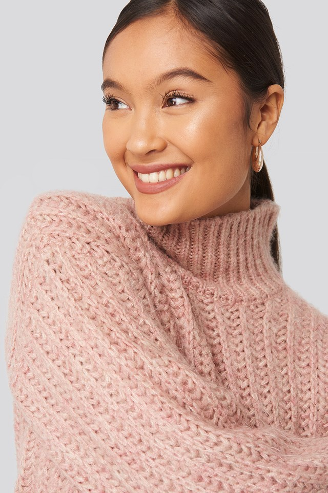 Andrea Badendyck High Neck Heavy Knitted Sweater Dusty Pink