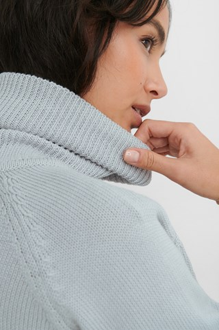 Light Grey High Neck Knitted Sweater