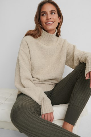 Beige High Neck Knitted Sweater