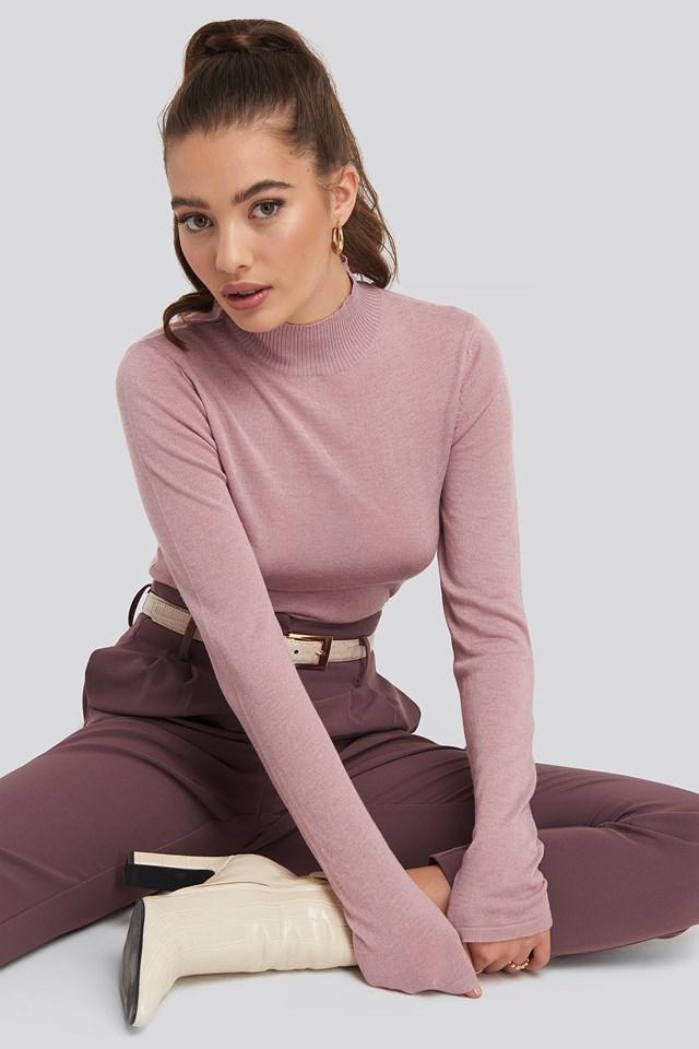 High Neck Light Knit Sweater Dusty Pink