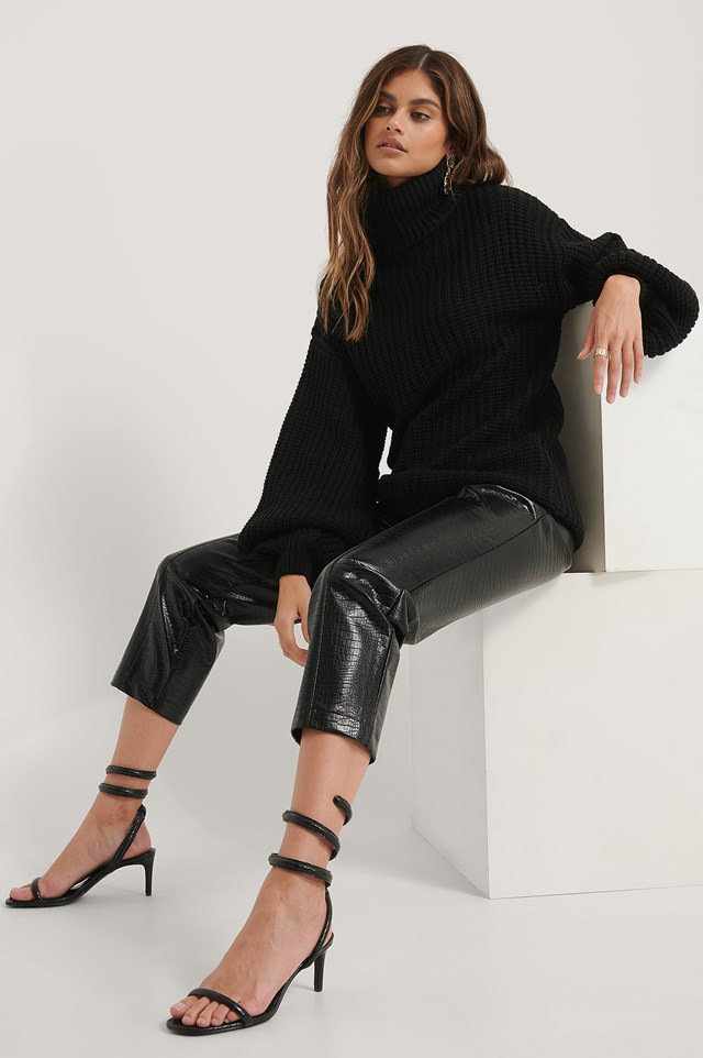 High Neck Long Knitted Sweater Black