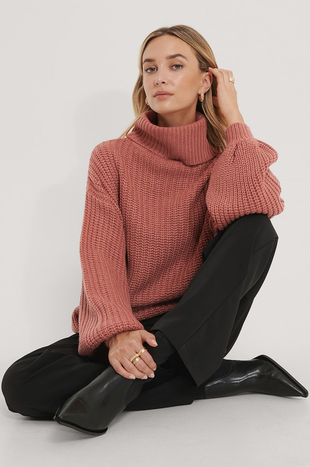 High Neck Long Knitted Sweater Dusty Dark Pink