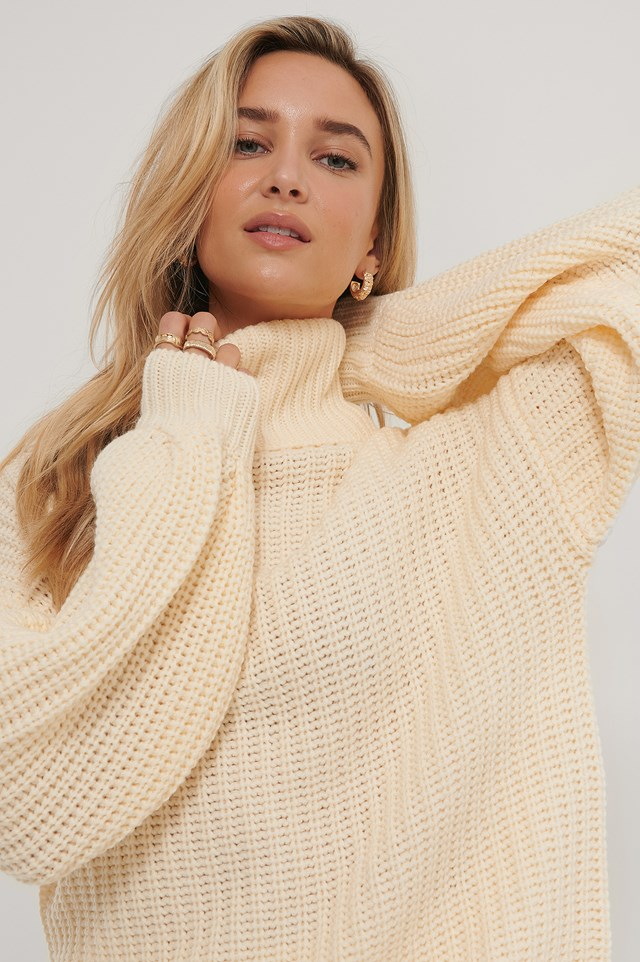 High Neck Long Knitted Sweater Off White