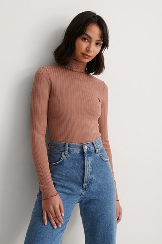 Dusty Dark Pink Recycled High Neck Long Sleeve Top