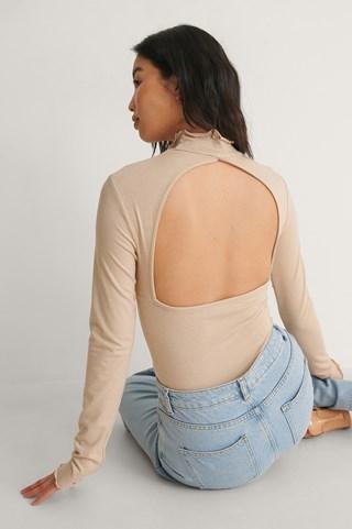 Beige Melange Recycled High Neck Open Back Long Sleeve Top