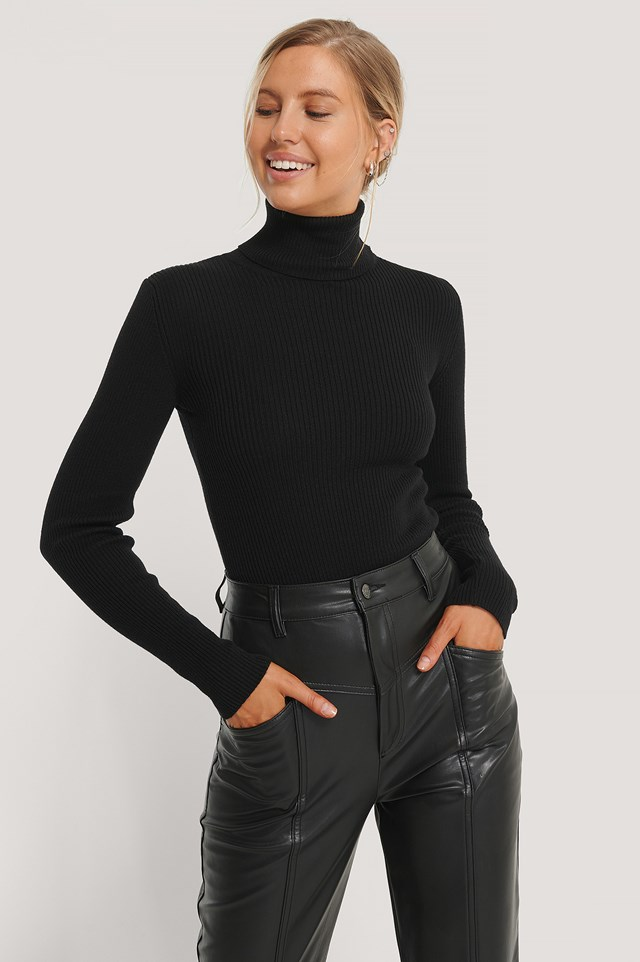 High Neck Rib Knit Sweater Black