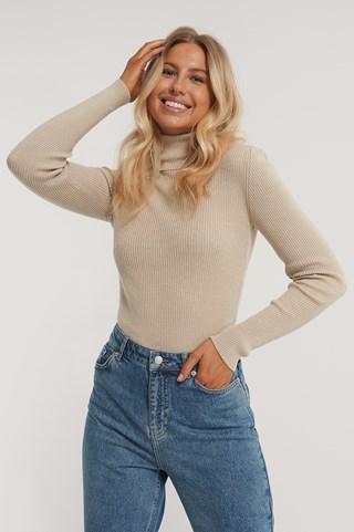 Beige High Neck Rib Knit Sweater