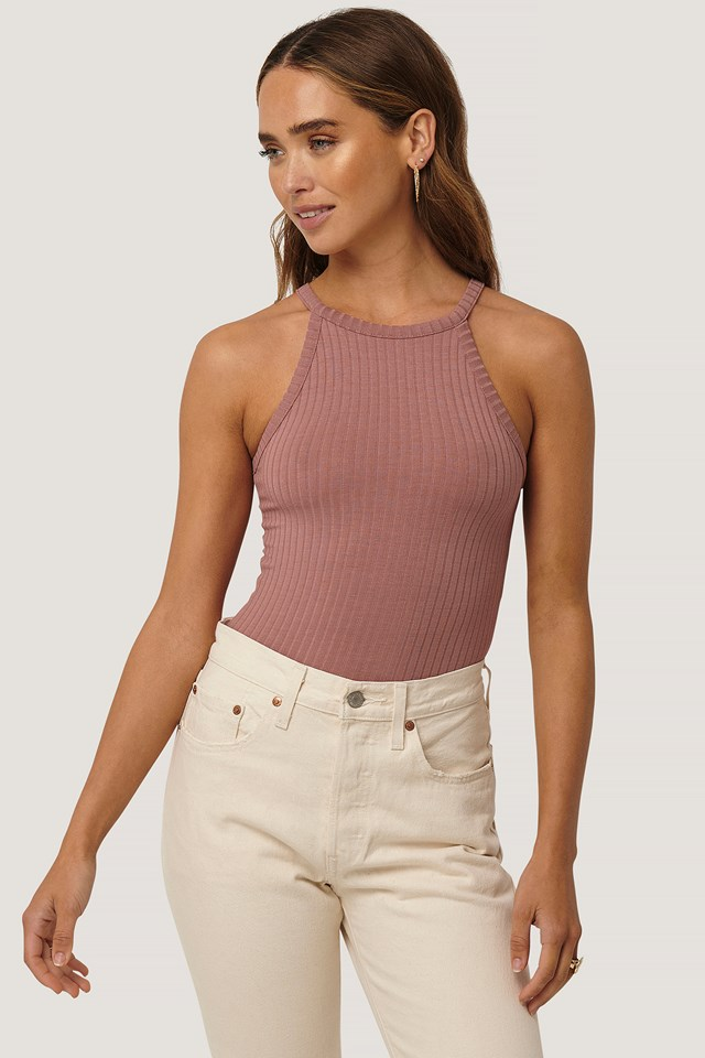 High Neck Ribbed Body Dusty Dark Pink