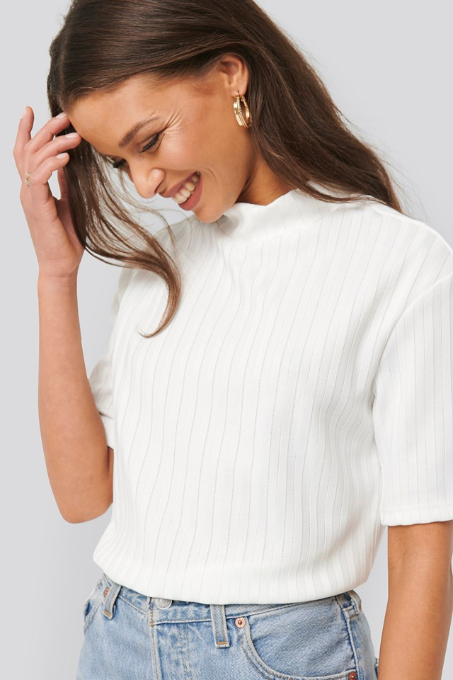Offwhite High Neck Ribbed Top