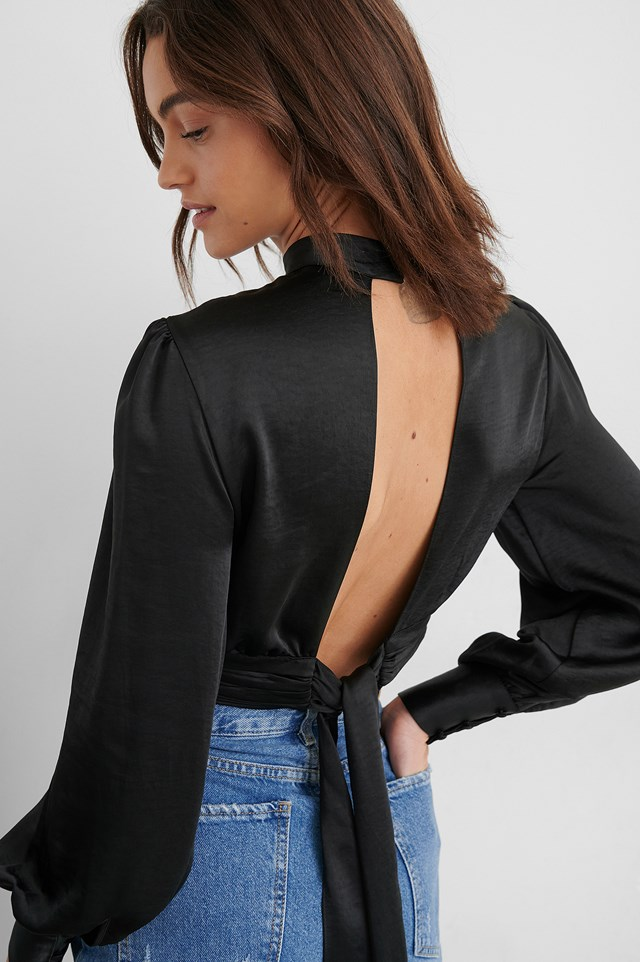 High Neck Satin Blouse Black