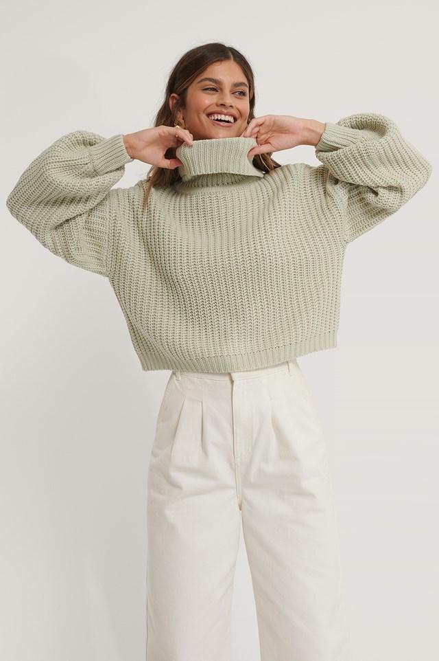 High Neck Short Knitted Sweater Light Grey
