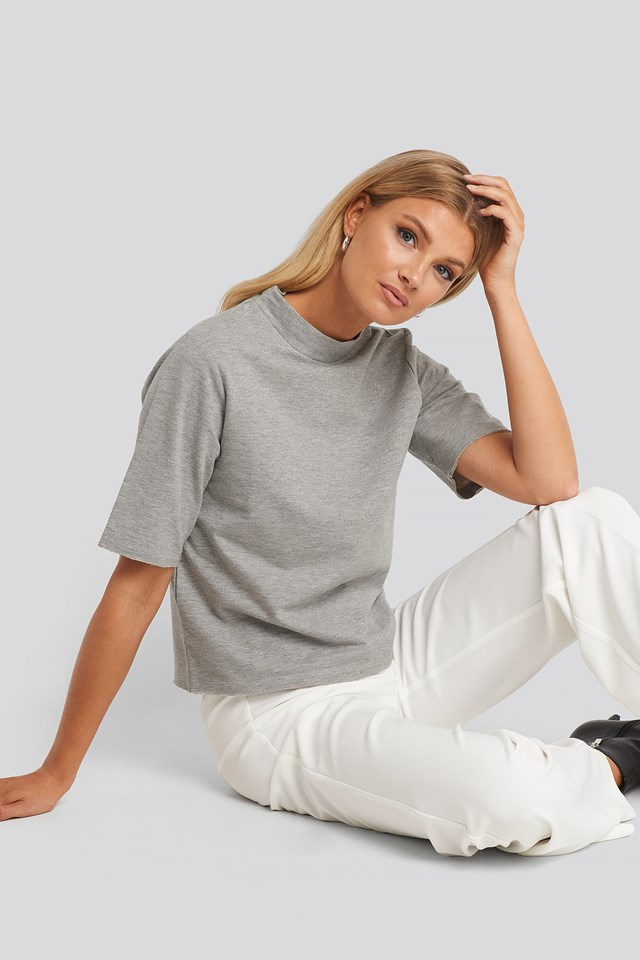 High Neck Short Sleeve T-shirt NA-KD Basic