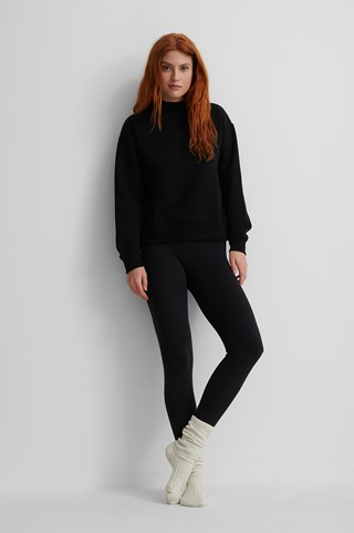 Black Organic High Neck Sweatshirt