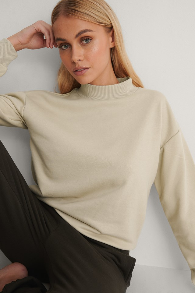 Beige Organic High Neck Sweatshirt