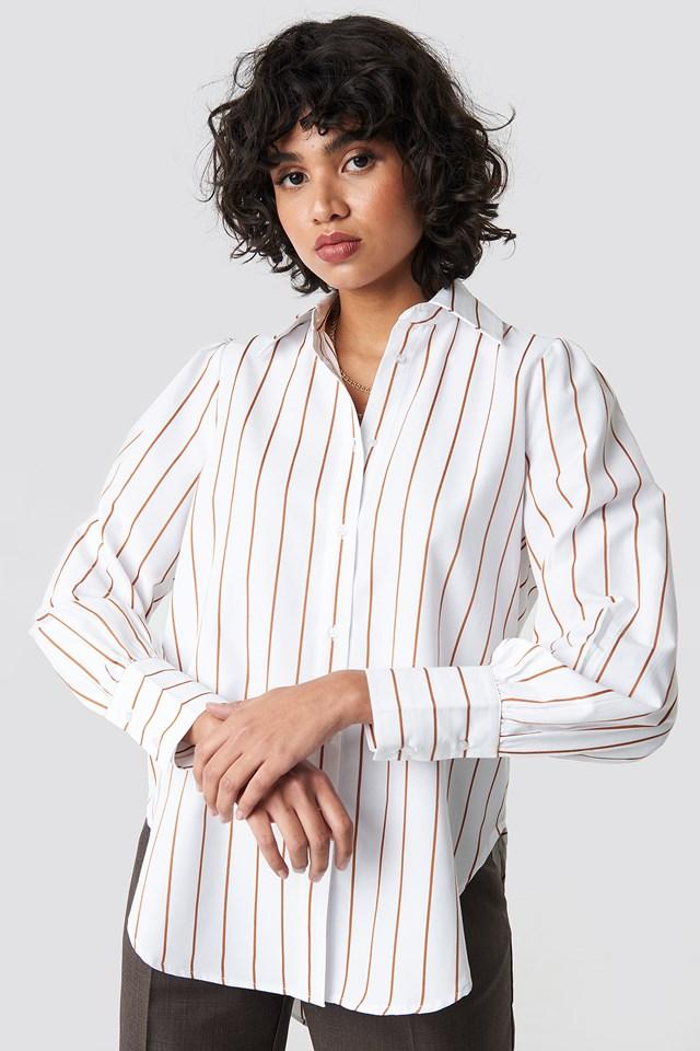 High Slit Oversized Striped Shirt NA-KD Classic