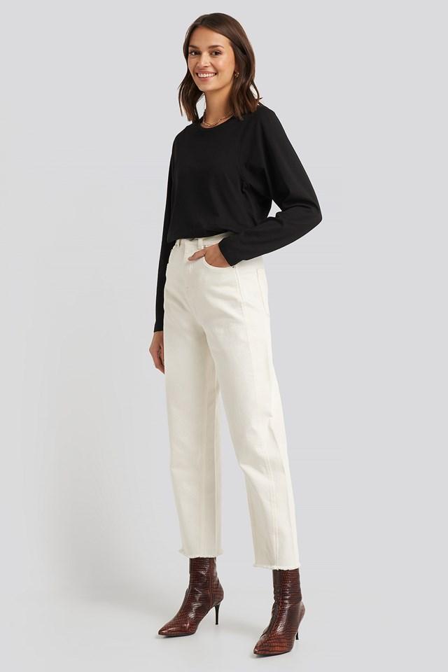 High Waist Barrel Leg Jeans Off White