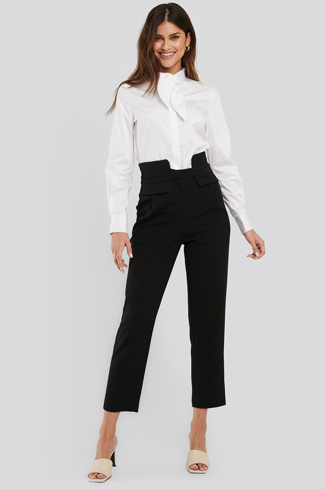 High Waist Detailed Pants Black