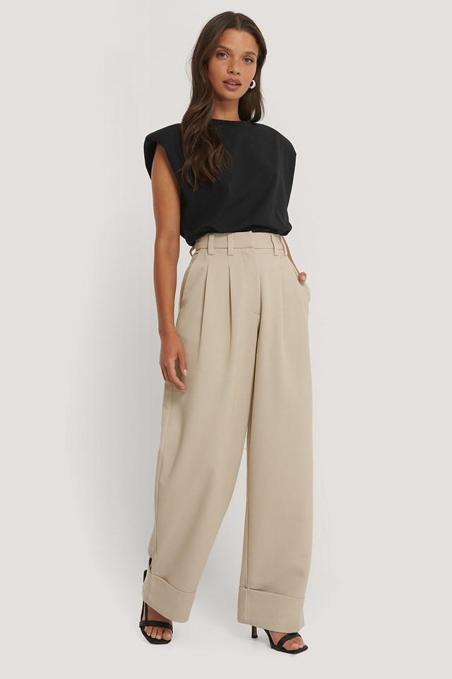 High Waist Folded Twill Pants NA-KD Trend