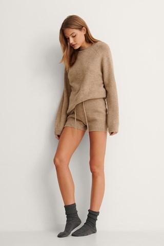 Beige High Waist Knitted Shorts