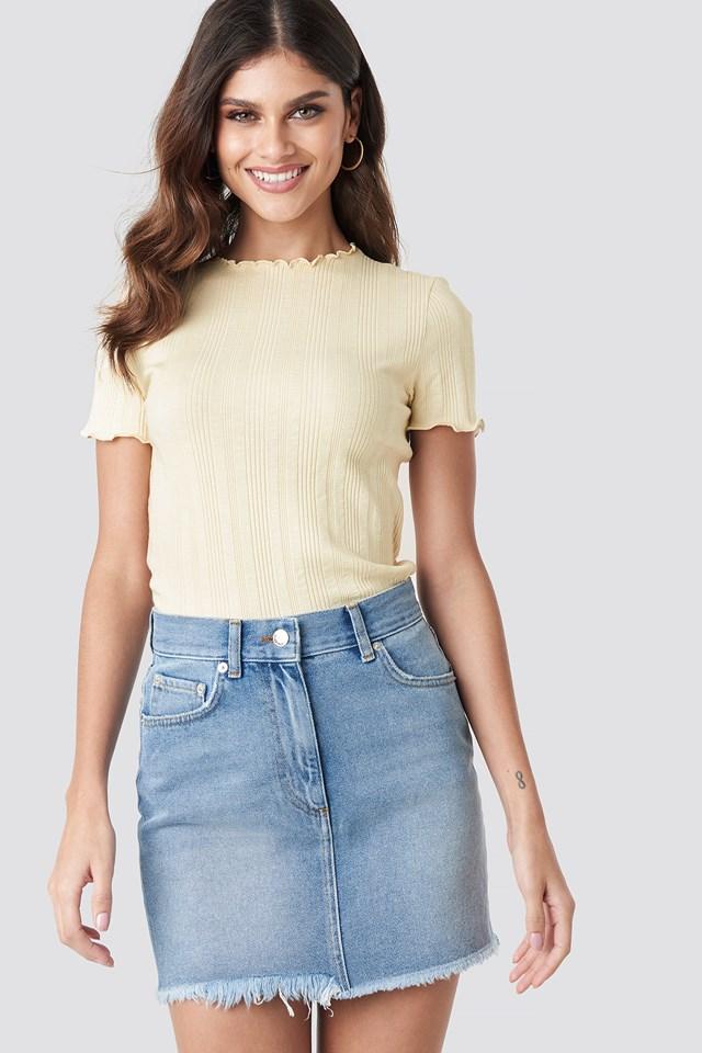 High Waist Raw Hem Denim Skirt NA-KD