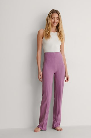 Lilac Recycled High Waist Ribbed Babylock Pants