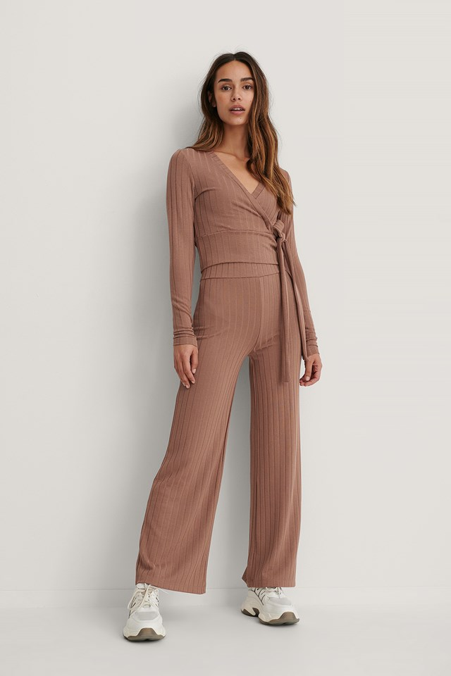 High Waist Ribbed Pants Dusty Dark Pink