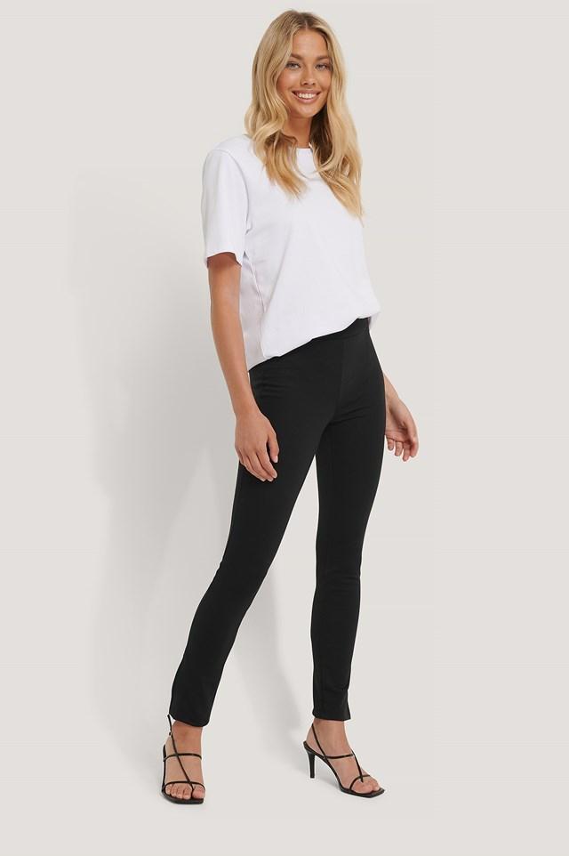 High Waist Slit Pants Black