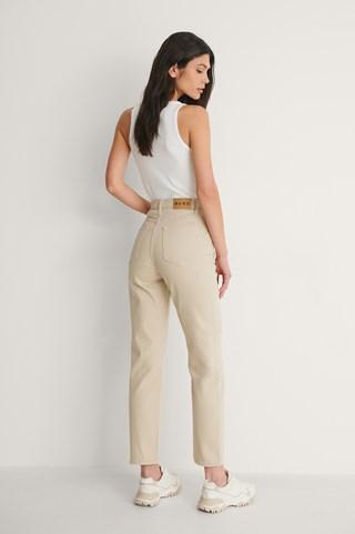 Beige Straight High Waist Jeans