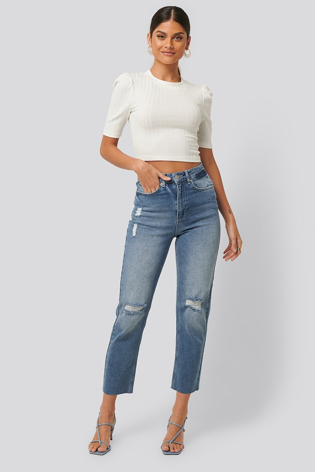 High Waist Straight Destroyed Jeans Mid Blue
