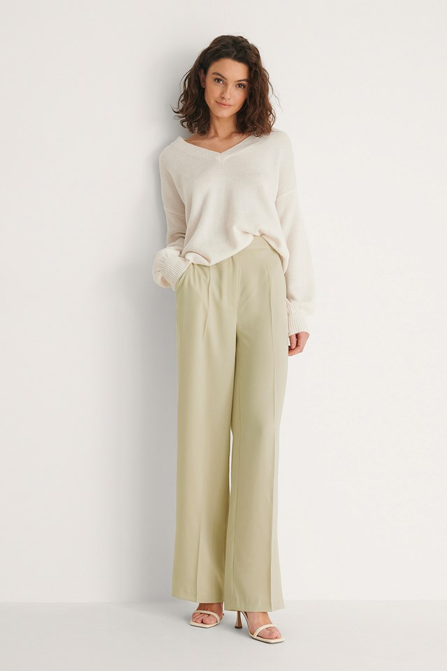 Dusty Light Green Recycled High Waist Suit Pants