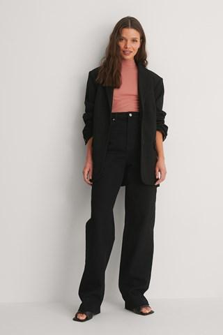Black Organic High Waist Wide Leg Long Jeans