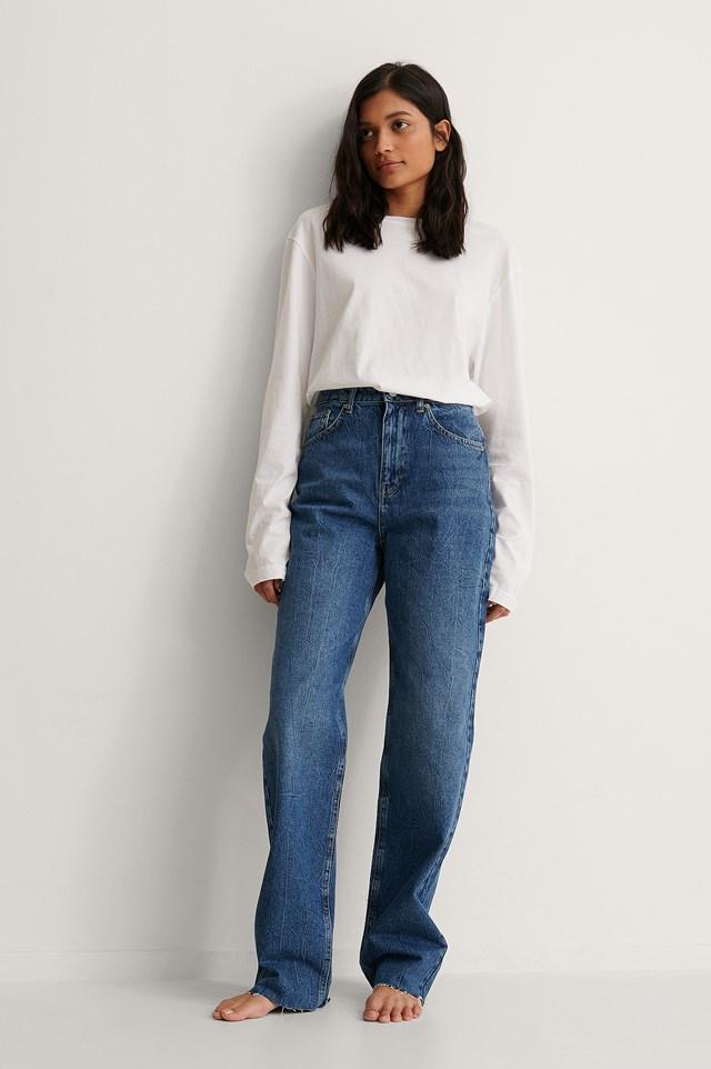 Dark Blue High Waist Wide Leg Long Jeans