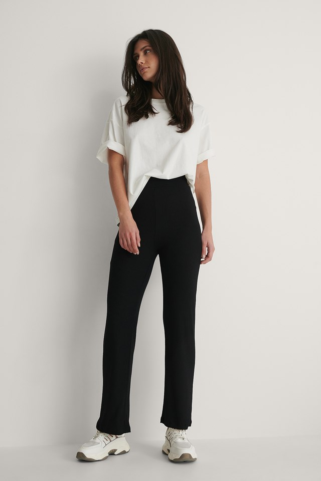 Black High Waisted Ribbed Pants