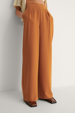 Rust Recycled High Waisted Wide Leg Suit Pants