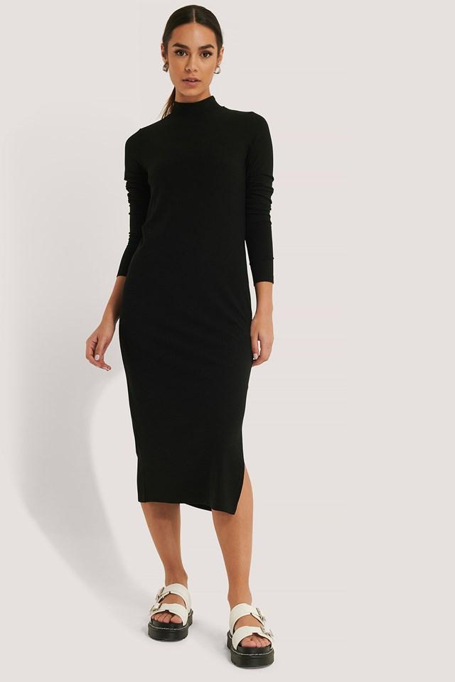 Highneck Ribbed Basic Longsleeve Dress Black
