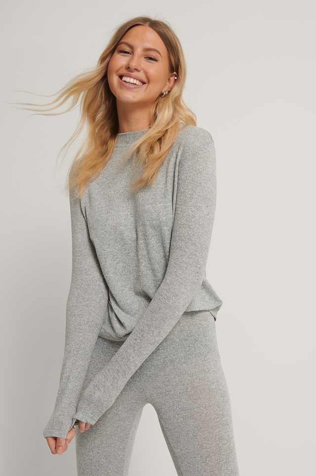 Highneck Soft Lounge Sweater Grey Melange