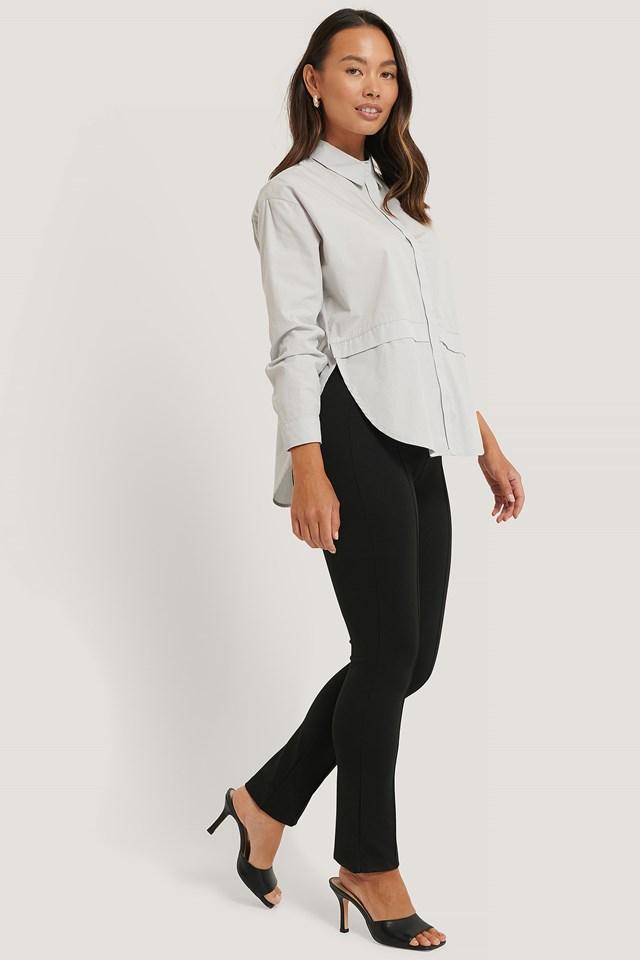Highwaist Front Seam Pants Black
