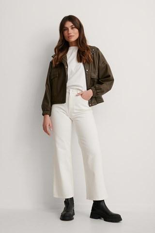 Ecru Organic Highwaist Relaxed Jeans
