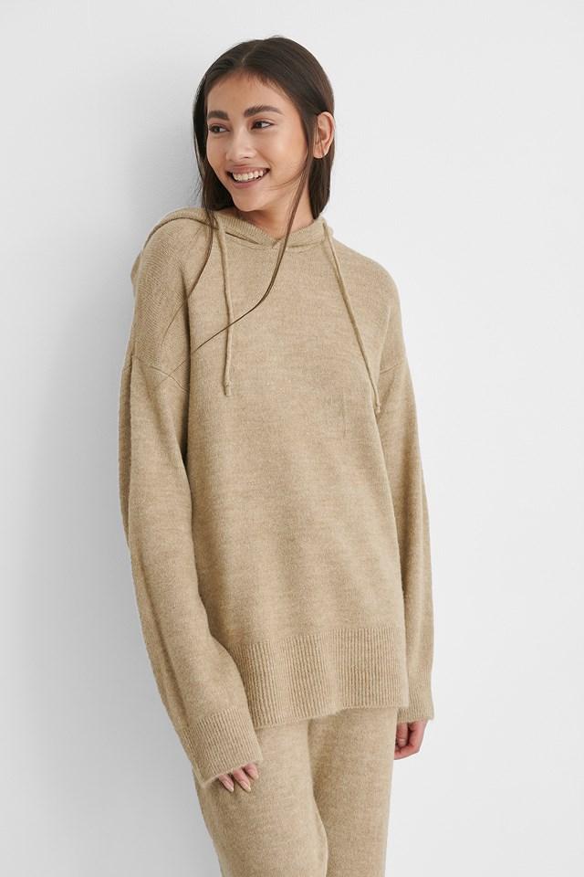 Beige Hood Knitted Sweater