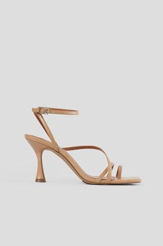 Beige Hourglass Strappy Heels