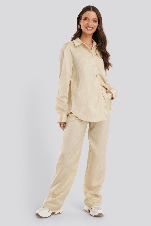 Jacquard Suit Pants Cream