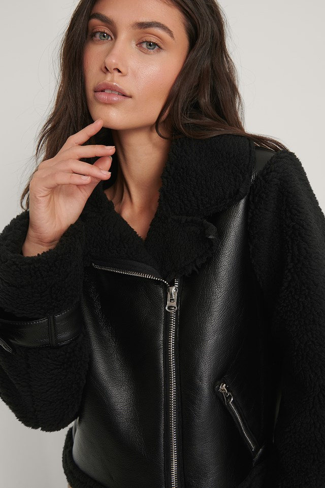 Faux Fur Detail Biker Jacket Black