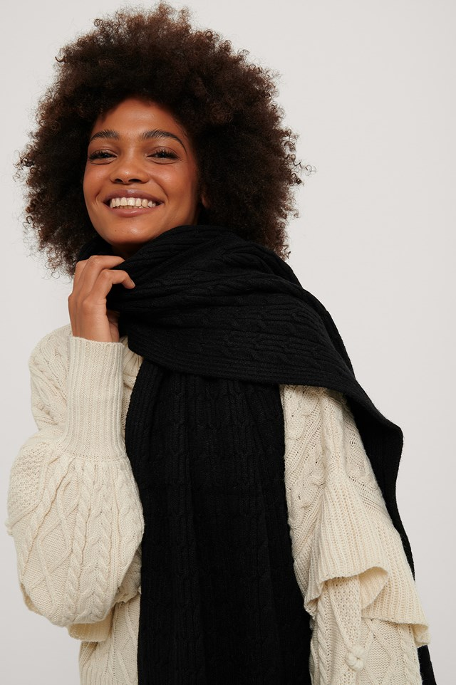 Jersey Cableknit Scarf Black