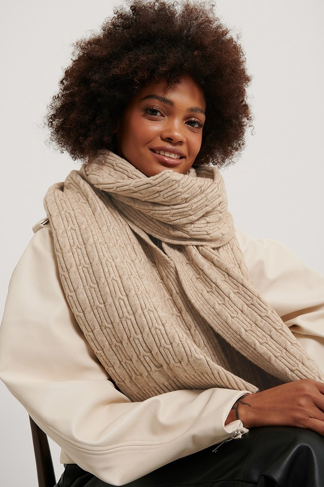 Jersey Cableknit Scarf Beige