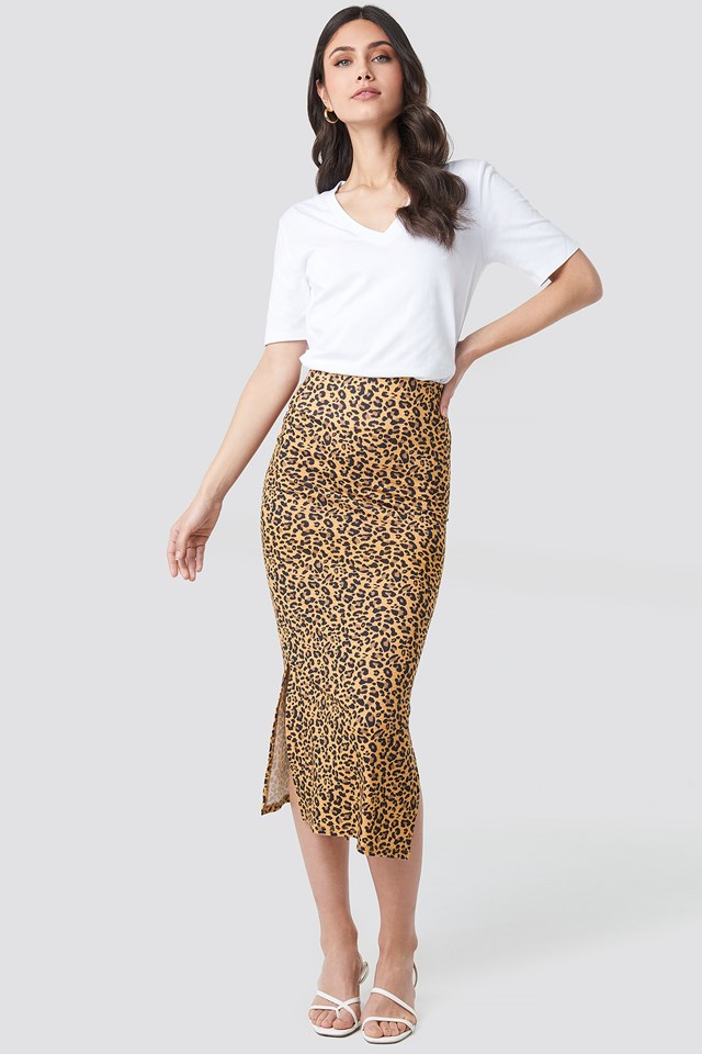 Jesey Side Slit Leo Printed Skirt Leoprint
