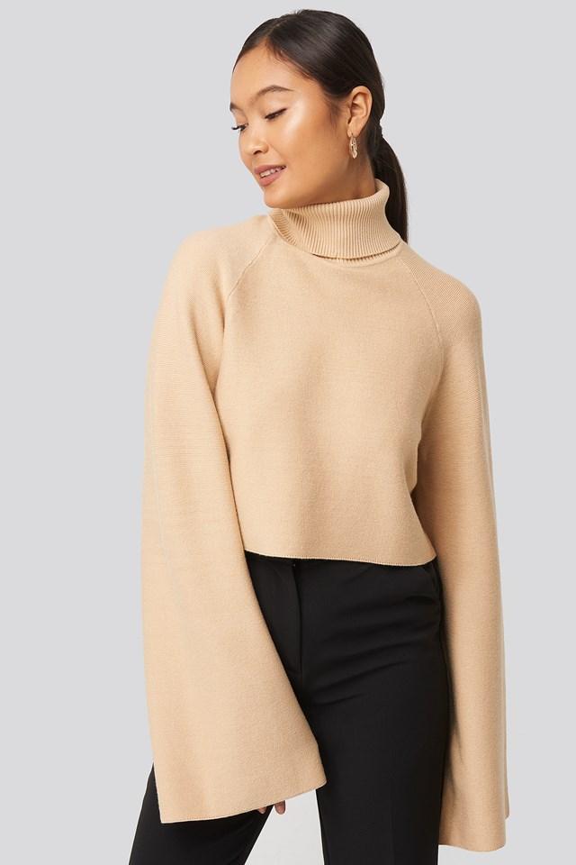 Joann Van Den Herik  Polo Neck Knitted Sweater Beige