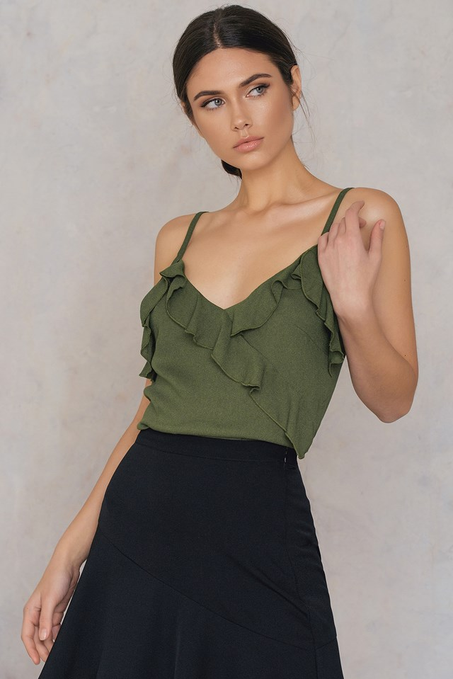 Wrap Front Frill Singlet Army Green